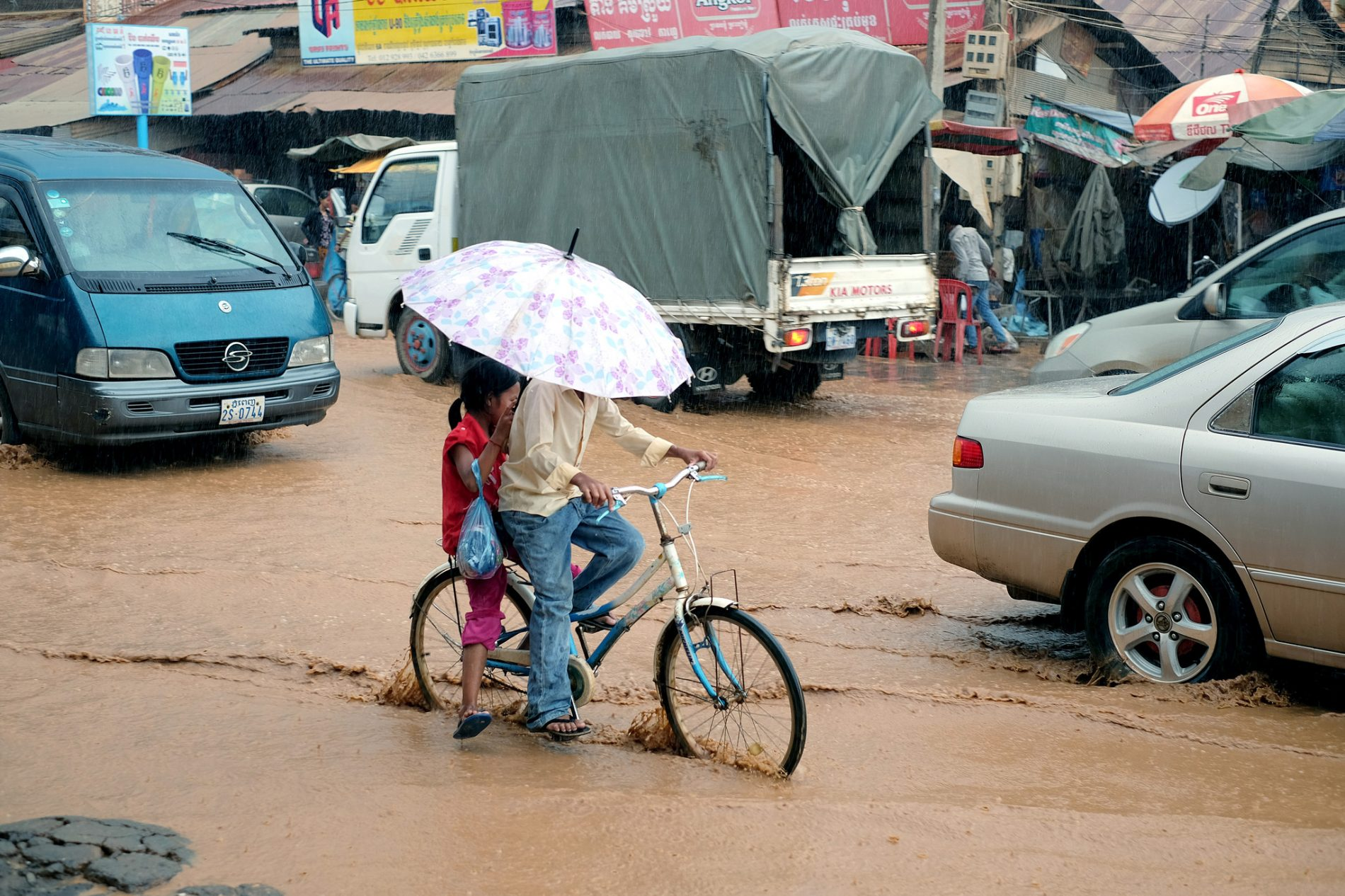 Flooding caused by heavy rain in Paov, Kampong Cham province, Cambodia