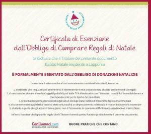 certificato regali natale