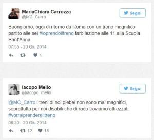 scambio di tweet fra Maria Chiara Carrozza e Iacopo Melio